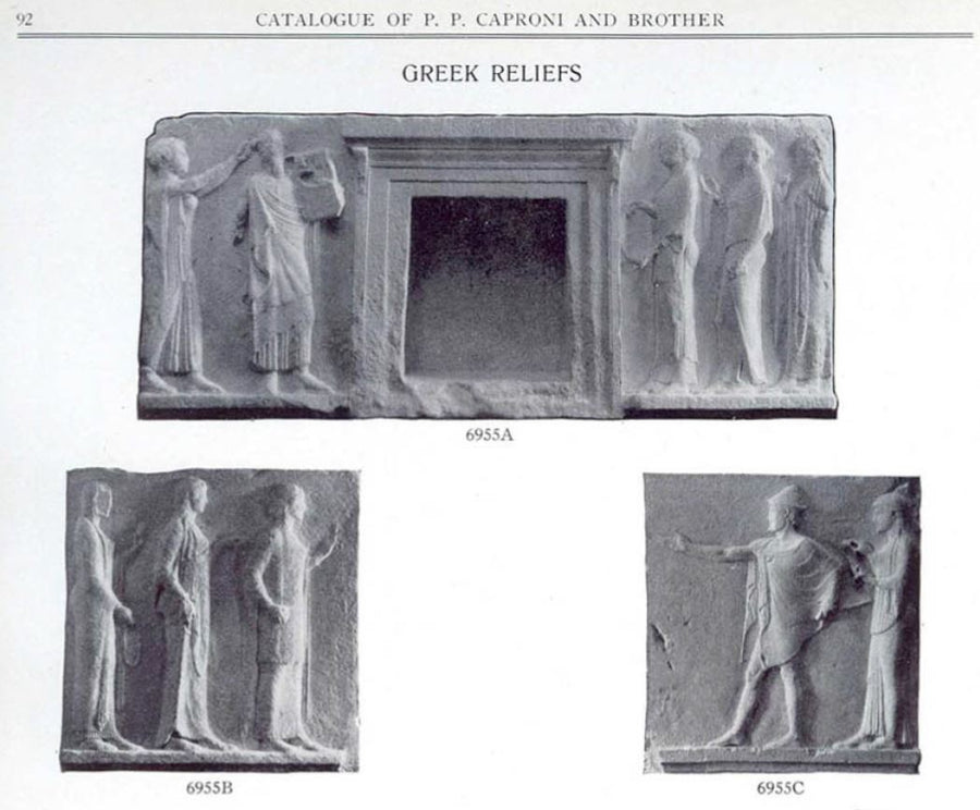 scan of part of 1911 Caproni catalog page 92 with the reliefs from the Passage of the Theoroi