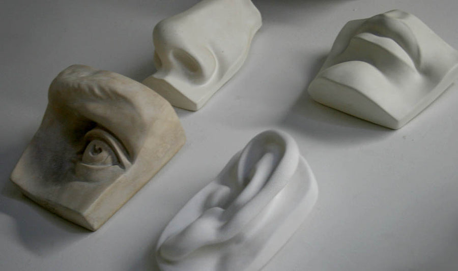 Photo of four plaster casts from a sculpture's head including left eye, left ear, nose, and mouth from a sideways angle  on a white background