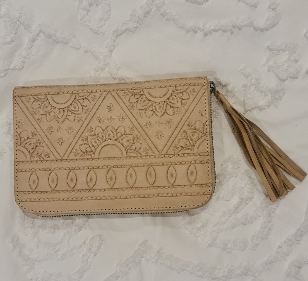 100% leather hand tooled boho sunflower wallet