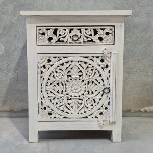 Large Distressed Vintage White Mandala Bedside Lamp Tables (Pair)