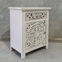 Load image into Gallery viewer, Large Distressed Vintage White Mandala Bedside Lamp Tables (Pair)