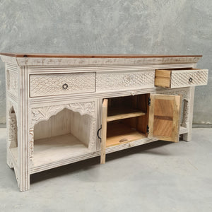 Indian Two Drawer Console Vanity With Small Cupboard
