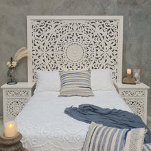 Load image into Gallery viewer, King Size Vintage White Circular Mandala Bed Headboard