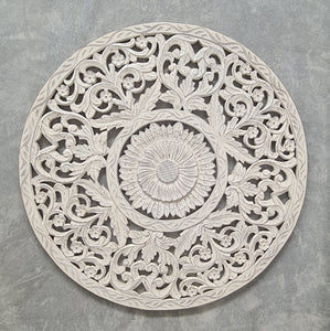 Hand Carved Mandala Round Wall Panel