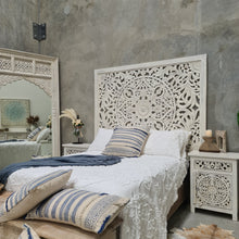 Load image into Gallery viewer, Three Piece Distressed Vintage White Mandala King Bedroom Set