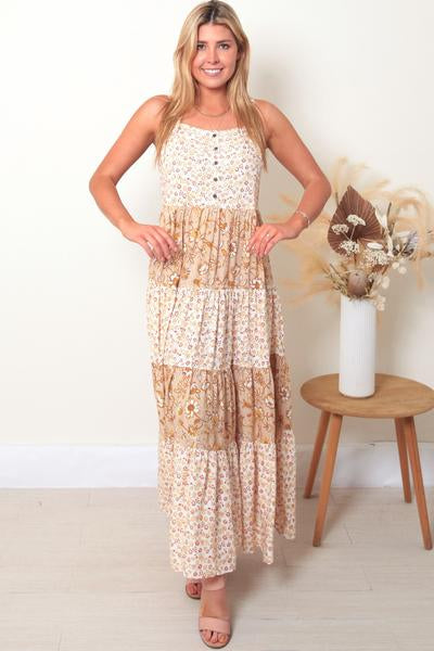 Betty Button Front Slip Maxi Dress