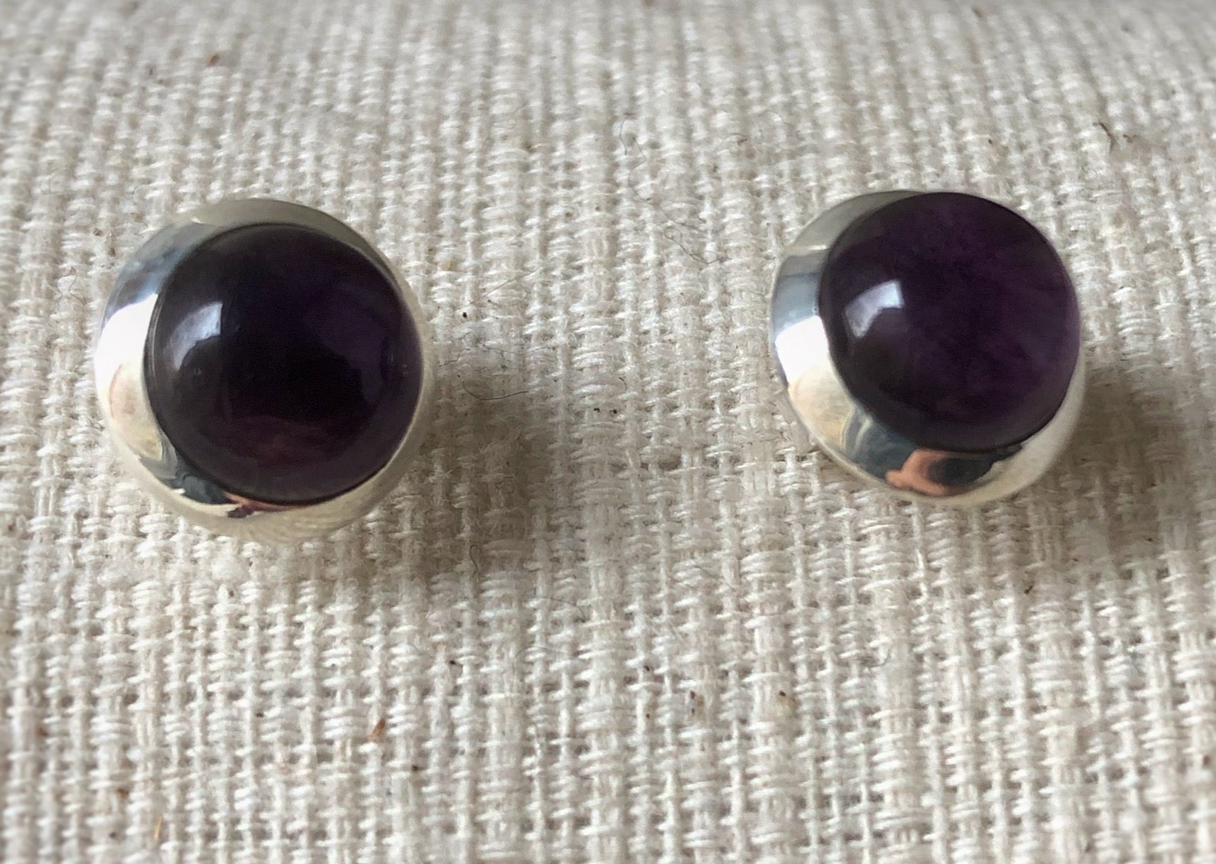 Amethyst Round Silver Stud Earrings