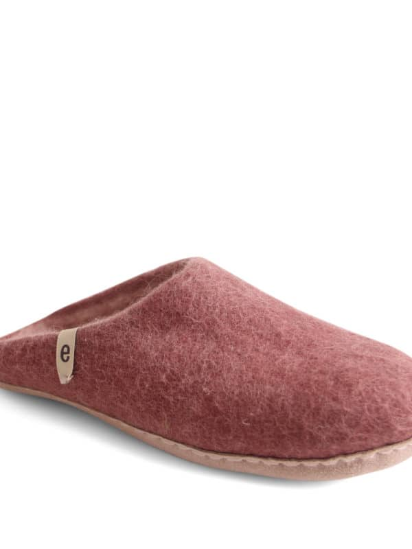 Dusty Rose Pink Felt Slippers
