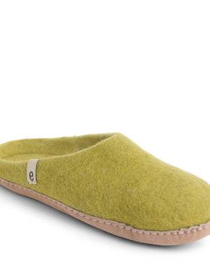 Lime Green Felt Slippers