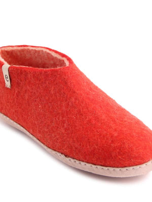 Rusty Red Felt Slipper Shoes