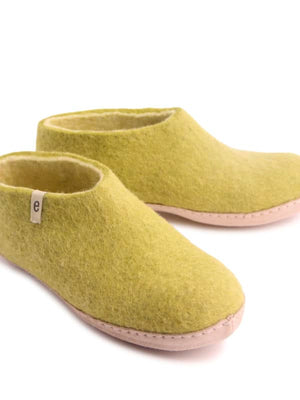 Lime Green Felt Slipper Shoe