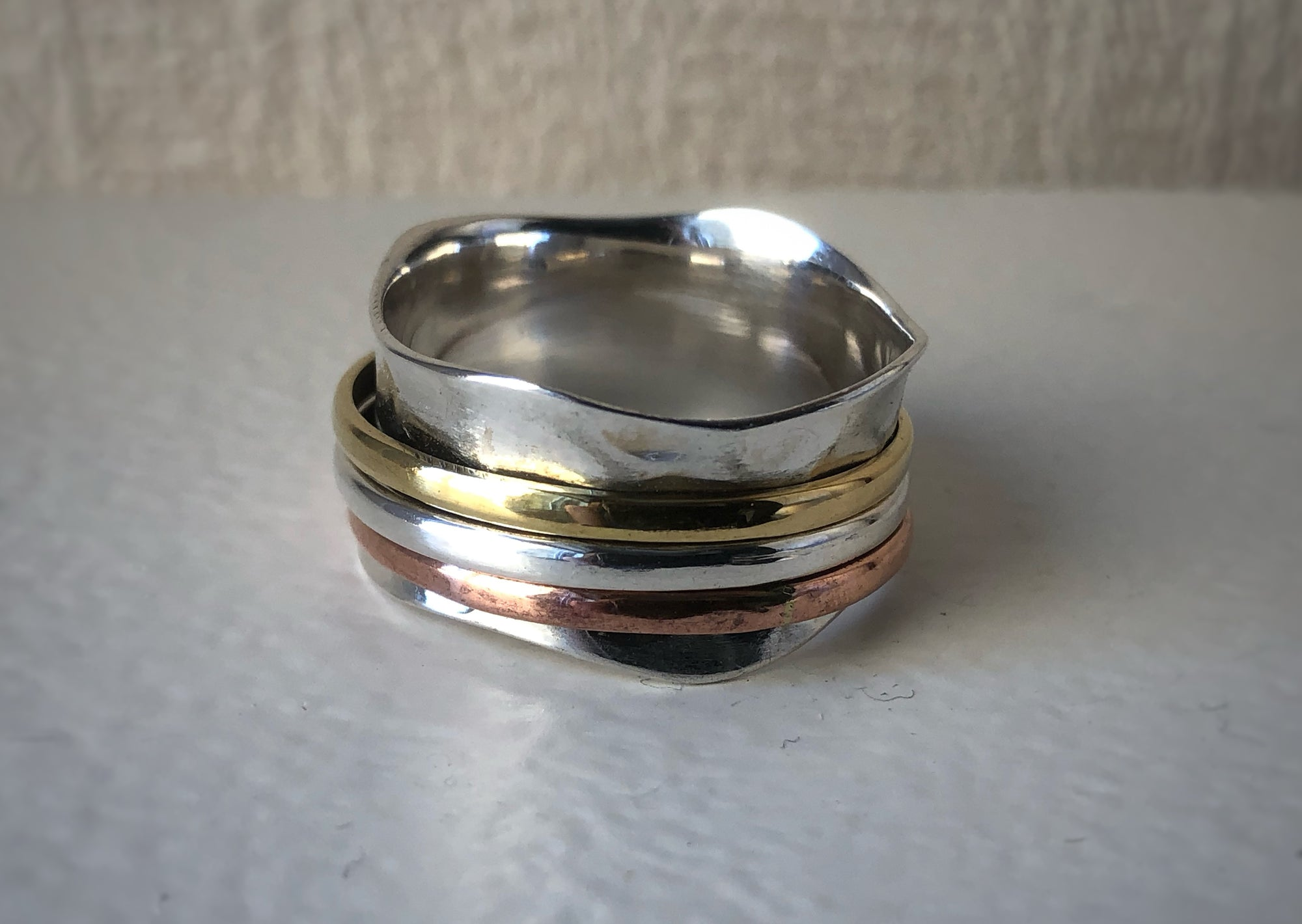 Brass, Copper and Sterling Silver Tri-Color Wave Spinning Ring Tiger Lily London