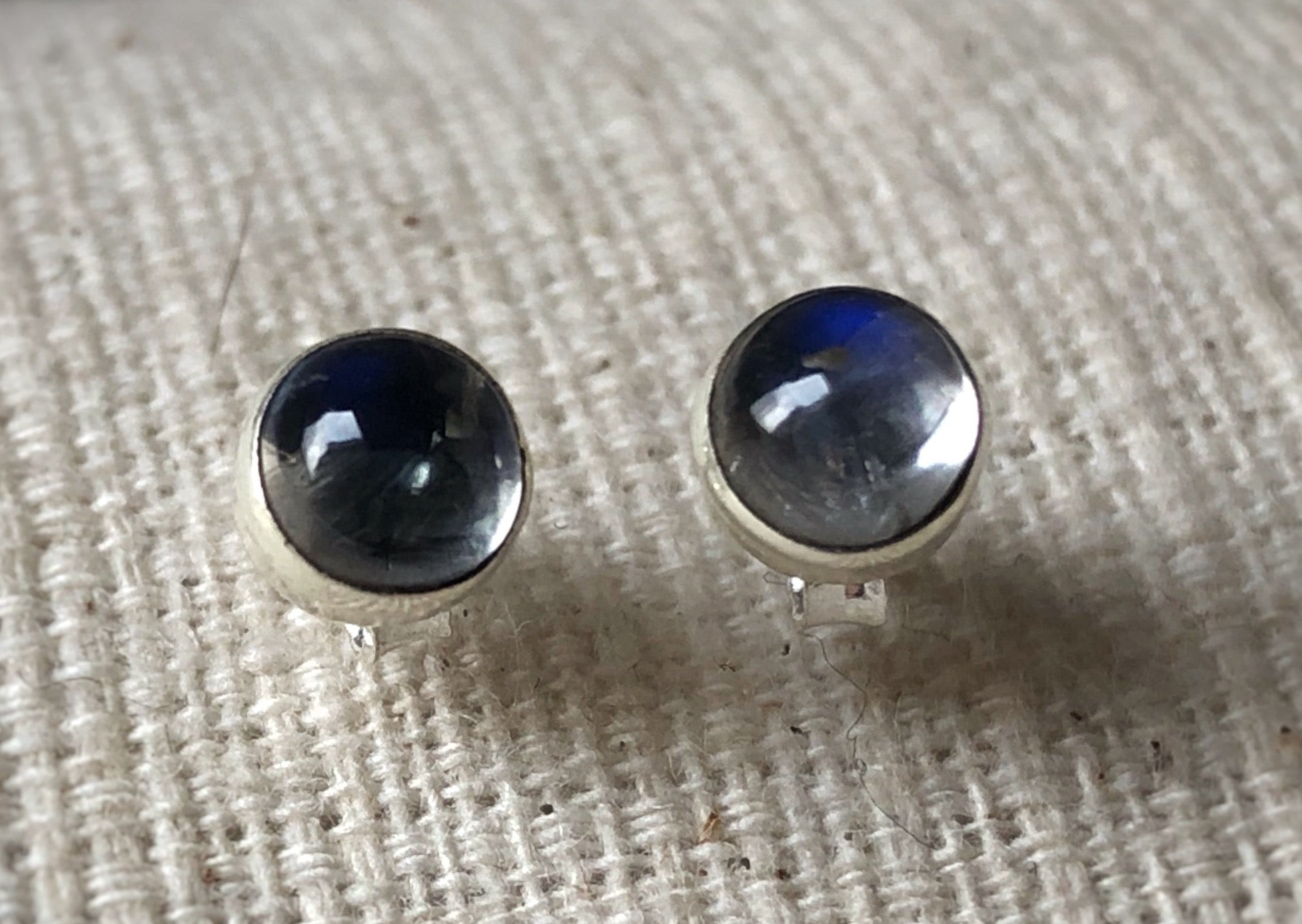Small Labradorite Round Sterling Silver Stud Earrings Tiger Lily London