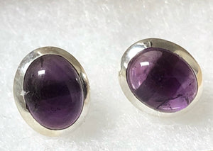 Sterling Silver Amethyst Gemstone Oval Stud Earrings Tiger Lily London