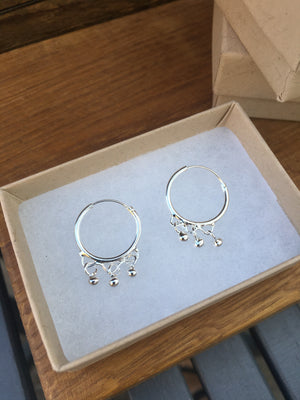 Silver Ethnic Style Hoop Earrings