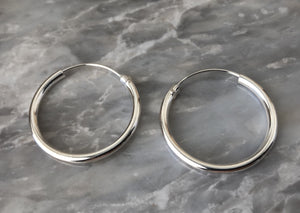 Silver 3.5cm Hoop Earrings