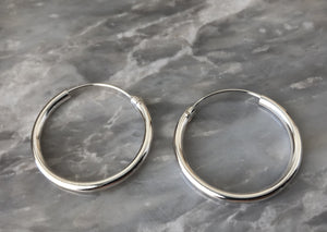 Silver 2.5cm Hoop Earrings (2mm Width)