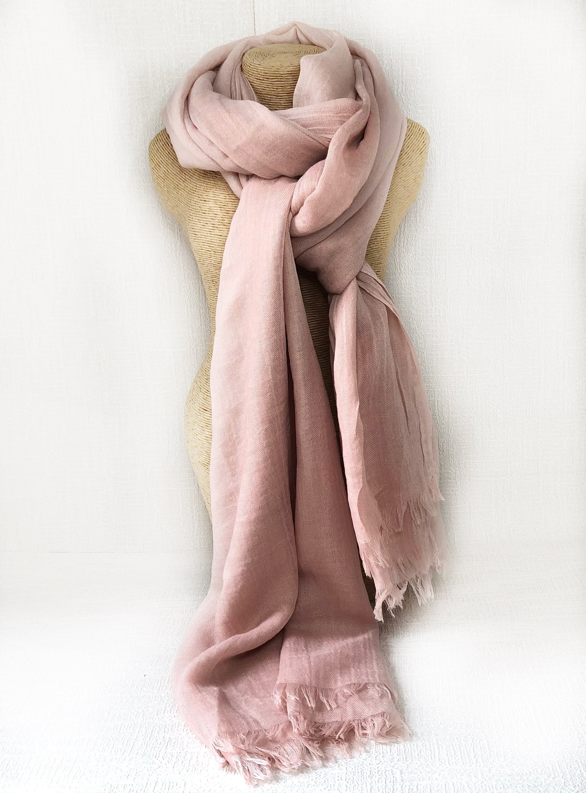 Coral Rose Wool Cotton Scarf