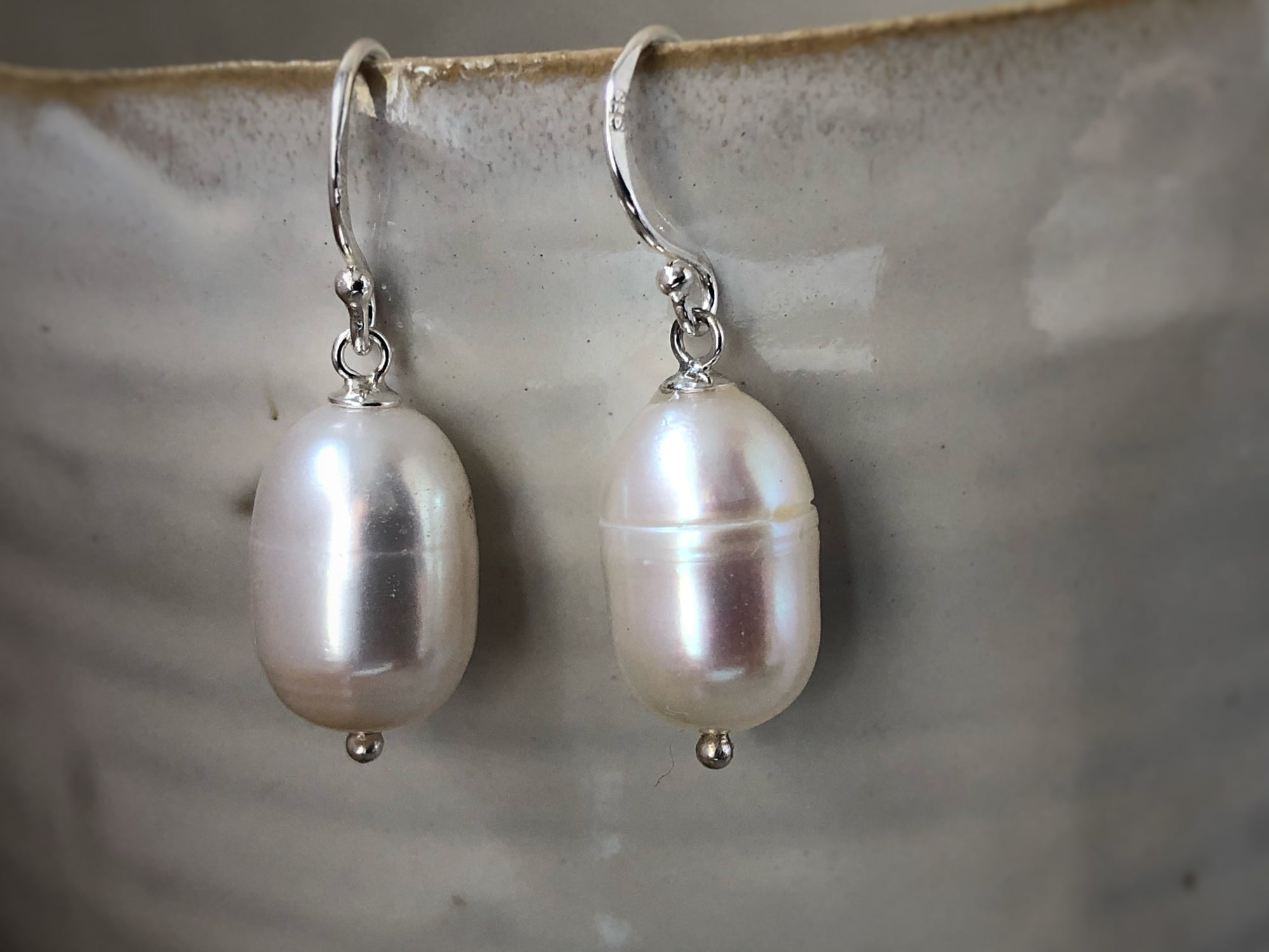 Oval Pearl Sterling Silver Drop Earrings Tiger Lily London