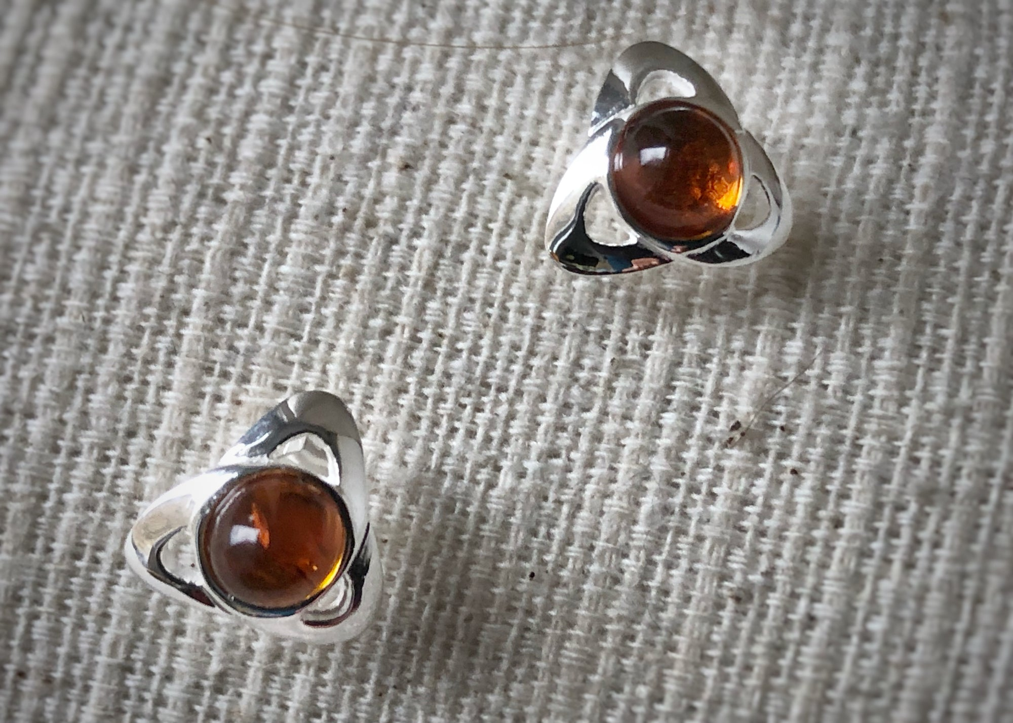 Sterling Silver Baltic Amber Stud Earrings