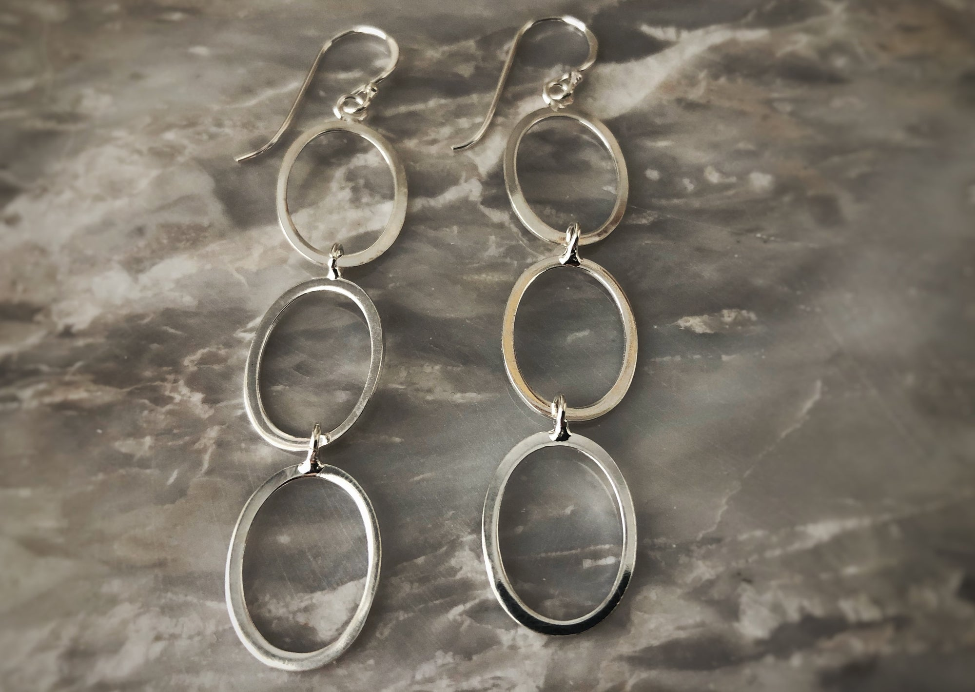 Silver Triple Hoop Earrings