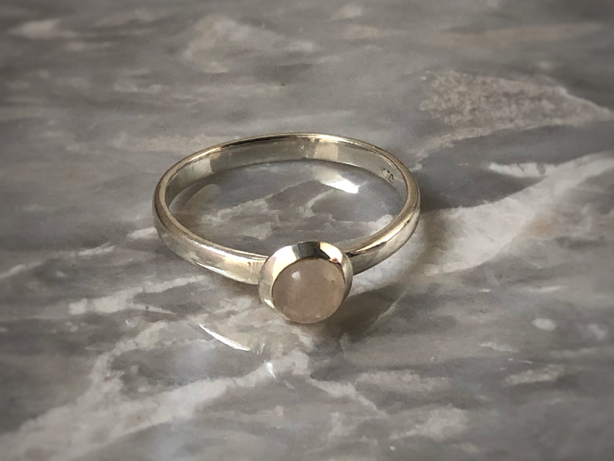 Small Rose Quartz Silver Ring