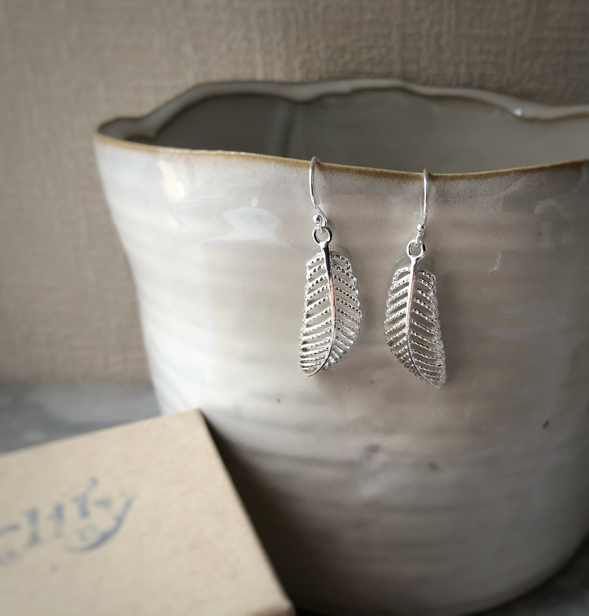 Sterling Silver Feather Earrings Tiger Lily London