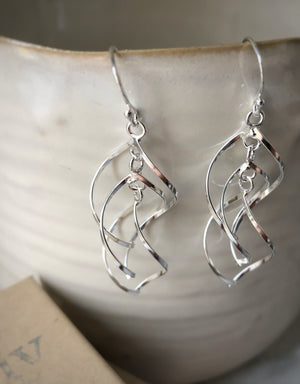 Sterling Silver Strung Spiral Earrings Tiger Lily London