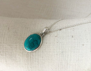 Turquoise Sterling Silver Pendant Medium