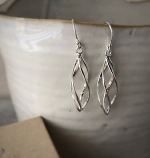 Silver Short Spiral Earrings