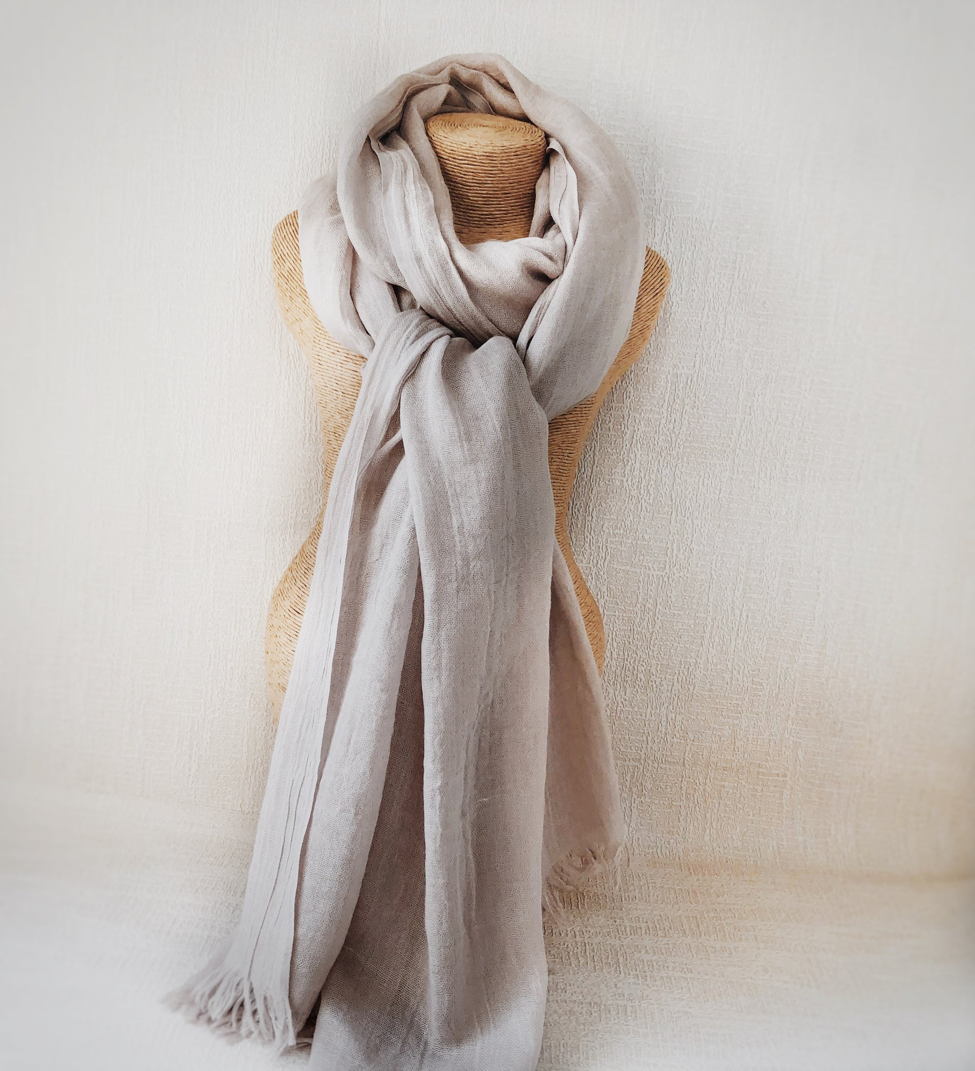 Grain White Wool Cotton Scarf