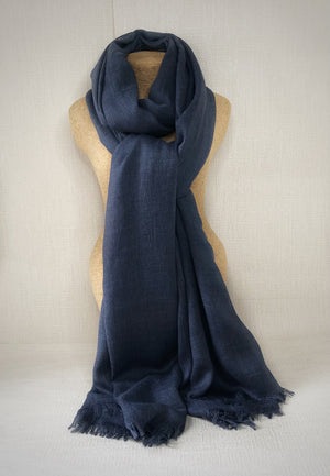 Dark Denim Blue Wool Cotton Scarf
