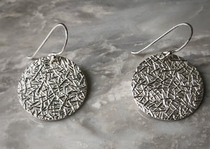 Sterling Silver Etched Disc Earrings Tiger Lily London