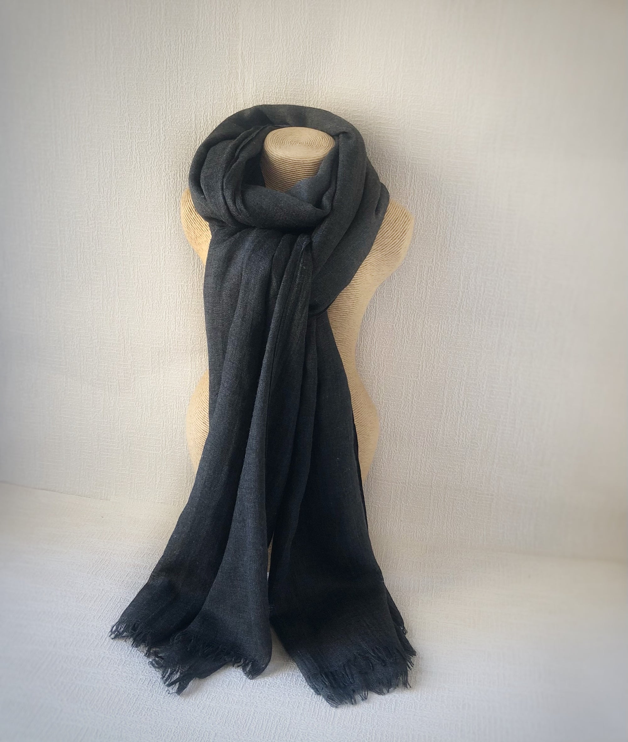 Charcoal Wool Cotton Scarf