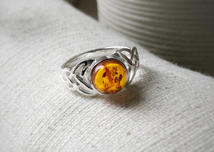 Baltic Amber Celtic Sterling Silver Ring Tiger Lily London