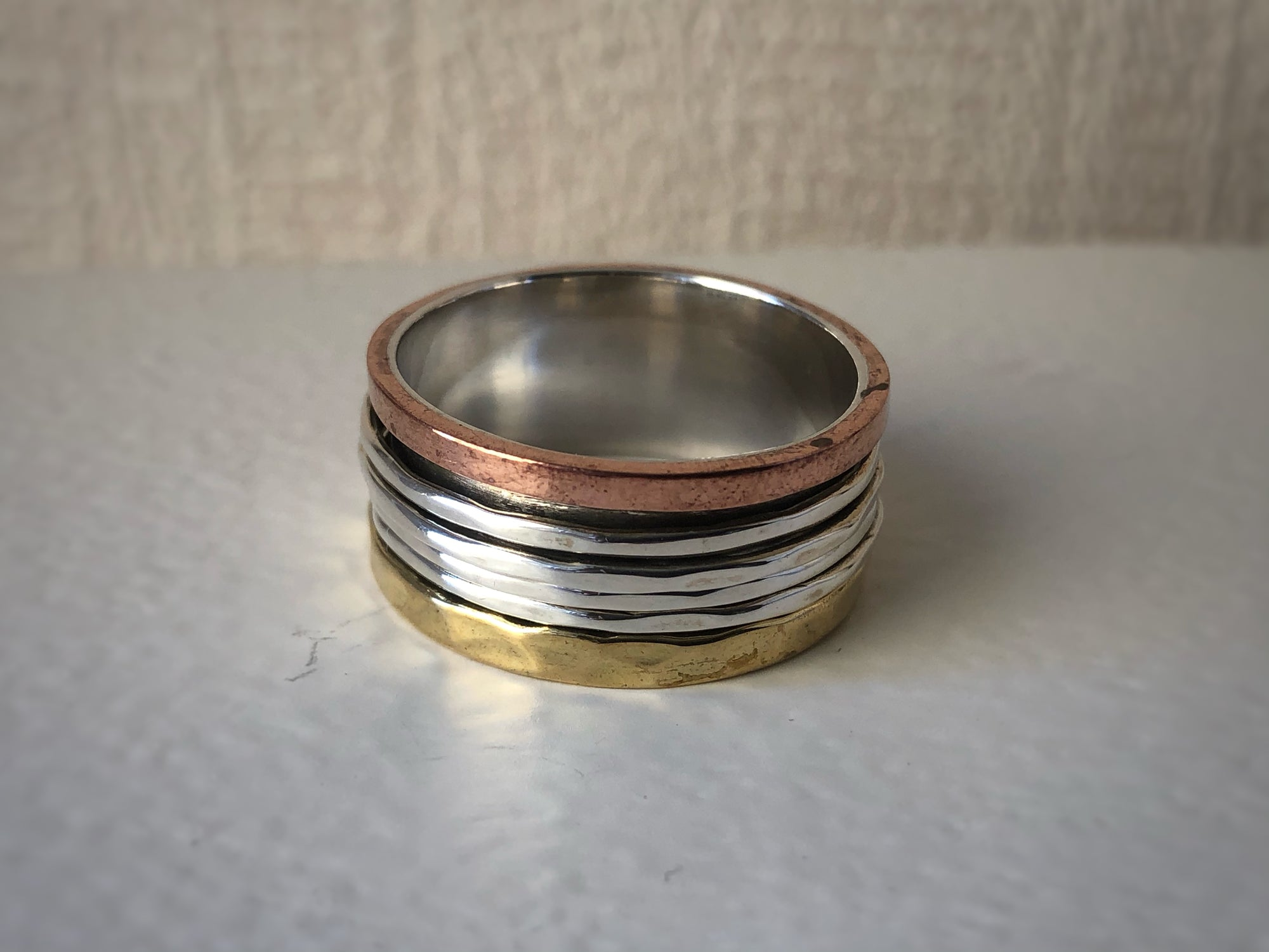 Brass, Copper and Sterling Silver Fortune Spinning Ring Tiger Lily London