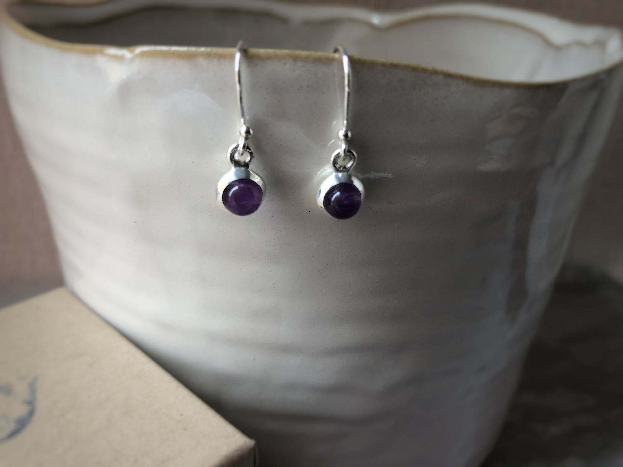 Small Amethyst Round Sterling Silver Drop Earrings