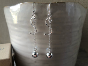 Sterling Silver Dangling Ball Earrings