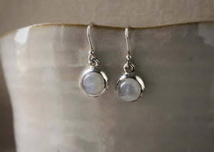 Round Moonstone Sterling Silver Earrings Tiger Lily London
