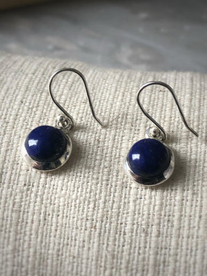 Small Blue Lapis Round Sterling Silver Drop Earrings Tiger Lily London