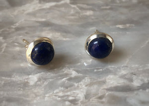 Blue Lapis Round Sterling Silver Stud Earrings