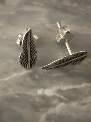 Sterling Silver Feather Stud Earrings Tiger Lily London