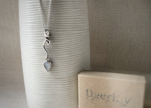 Moonstone Wave Sterling Silver Pendant Necklace Tiger Lily London