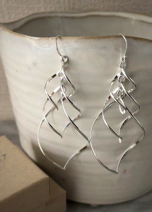 Sterling Silver Large Triple Dangling Spiral Earrings Tiger Lily London