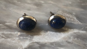 Blue Lapis Oval Sterling Silver Stud Earrings