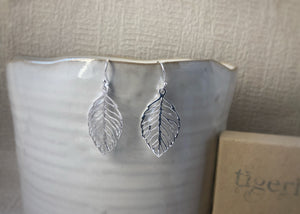 Sterling Silver Leaf Cut-Out Earrings Tiger Lily London