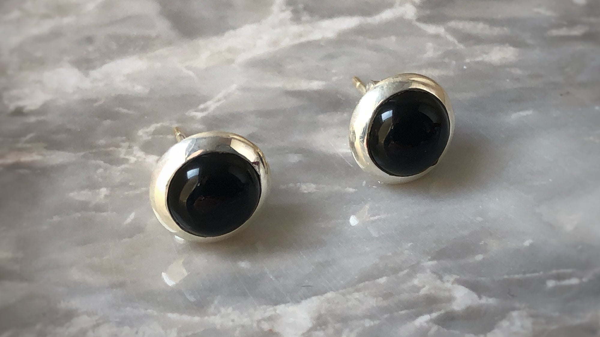 Black Onyx Round Sterling Silver Stud Earrings