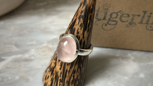 Medium Rose Quartz Sterling Silver Ring Tiger Lily London