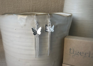 Butterfly Chain Sterling Silver Earrings