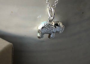 Sterling Silver Elephant Pendant Necklace Tiger Lily London